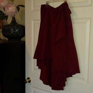 Sexy high-low faux wrap burgundy skirt